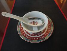 Vtg Collectible 4 PC Set: Plate, Soup Bowl, Spoon And Spoon Rest Made In Taiwan