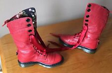 Dr Martens 1914 red triumph floral boots UK 8 EU 42 punk goth biker