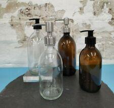Reusable Amber Glass Bottle With Pump Dispenser for Bathroom/Kitchen 300ml/500ml