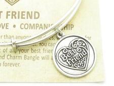 Wind & Fire Best Friend Heart Silver Charm Wire Bangle Stackable Bangle Bracelet