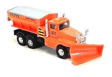 "ORANGE Snow Plow Salt Truck 6"" Diecast Metal model Swivel Plow Toy Boys & Girls"