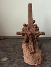 GEO DUTHEIL TERRACOTTA MODELAGE DESCENTE CROIX CHRIST SIGNATURE 1950 SCULPTURE