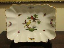 Herend Rothschild Bird Hungary Handpainted Square Serving Dish Bowl 7738/RO
