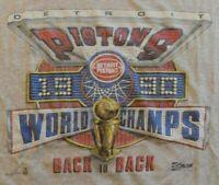 Vintage Detroit Pistons NBA World Champs Back to B T-shirt 1990 Salem T-Shirt XL