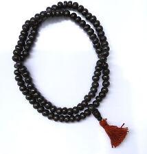 Tibetan Buddhist Black Yak Bone Meditation Mala Bead Necklace