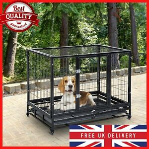 Large Metal Kennel Heavy Duty Dog Cage Pet Crate Tray Rolling With Strong Latch