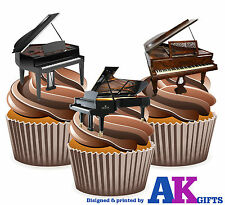 Grand Piano Mix 12 Comestibles Stand Up Cup Cake, Decoraciones, cumpleaños Fiesta Musical