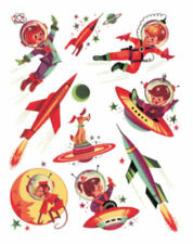 Vintage Image Shabby Retro Outer Space Children Rockets Waterslide Decals Kid522
