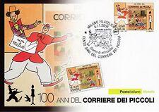 CARTOLINA FILATELICA 2008 - 100 ANNI DEL CORRIERE DEI PICCOLI - RARISSIMA RITIRA