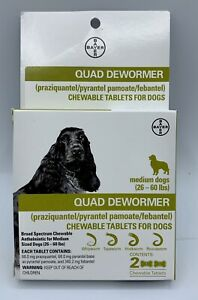 Bayer Quad Chewable Dewormer for Medium Size Dogs