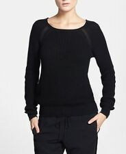 NWT VINCE Black Raglan Sleeve Sheer Panel Rib Knit Cotton Sweater XXS 00 Petite