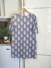 Toast Shift Tunic Dress Dove Grey Leaf Print Size 10 Smart / Casual Vgc