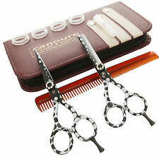 """5.5"""" Right-handed Green with White Dots Hair Cutting Thinning Shears Scissors"""