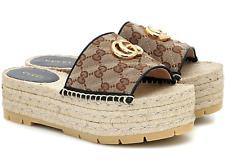 Gucci Marmont Beige Canvas Gold GG Slide Platform Espadrille Sandal Flat 38.5