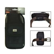 Reiko Black Vertical Small Canvas Belt Clip Case Pouch for Apple Cell Phone