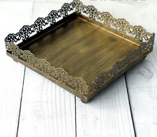 Iron Metal Vintage Gold Lace Square 17cm Tray Plate Cupcake Cake Stand Wedding