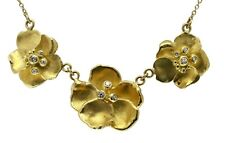 NEW: Metal petals.Three Pansy Flower Necklace-18K gold with diamonds-Jane Gordon