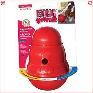 Kong Wobbler Dog Treat Dispenser Chew Toy Anti Gulp Slow Feed Bowl Large NEW