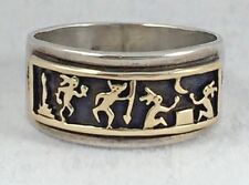 M.M. Rogers Navajo Sterling & 14K Figural Mens Band Ring- size 12 1/2