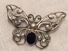 "Vtg Sterling Silver Filigree Butterfly W/black Onyx Body Pin 2"""