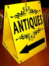 ANTIQUES with ARROW Sandwich Board Sign 2-sided Kit NEW Black on  Yellow