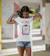 T-SHIRT T SHIRT DONNA  MODA FASHION CHANEL 5 NOIR COCO WITH FLOWERS