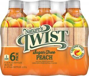 Nature's Twist Sugar Free Peach 16 oz 6 Bottle Pack
