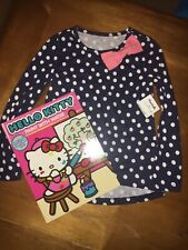 Girls Sz 4 Navy High Low Polka dot Top Pink Bow Hello Kitty Paint Water Easter