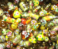 Bead Oddment - Large Lampwork & Glass Beads - 50gms  - Earth Tone Mix