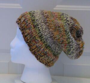 New Women Slouch Hat - Brown Green Cream Rust Gold Wool Blend Handmade Hand Knit