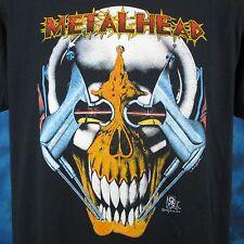 vintage 80s METAL HEAD CYBORG SKELETON PAPER THIN T-Shirt L/XL skull robot biker