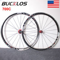 BUCKLOS Road Bike Wheelset QR 700c Double-Aluminum Front Rear for 7-11s Cassette