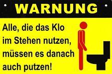 Spaß Schild Kunststoff + Motiv #6 + Klo - im Stehen nutzen - putzen + Toilette +