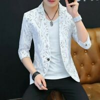 Men Casual Blazer One Button Korean Slim Fit 3/4 Sleeve Solid Youth Summer Coats
