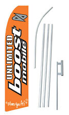 Complete 15' Unlimited BOOST Mobile Kit Swooper Feather  Banner Sign Flag