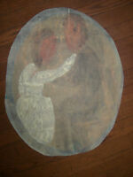 Sybil Gibson folk art painting  Outsider Couple Dancing 2 Figures Outside artist