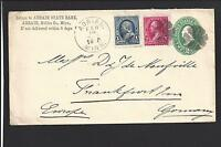"""ADRAIN, MINNESOTA COVER,1895. TO """"GERMANY"""".  3 COLOR FRANKING. BACKSTAMP."""