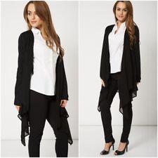 Womens Coatigan Sheer Insert Waterfall Cardigan Jacket Summer Chiffon UK 8 10