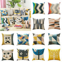 Modern Geometric Art 18inch Cotton Linen Sofa Waist Cushion Cover Home Decor
