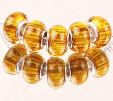 5pcs SILVER MURANO bead LAMMWORK fit EuroMean Charm Bracelet A#54