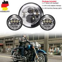 """7""""Rund Hi/Lo Haupt Scheinwerfer LED Projektor+2x4.5""""Lichter für Harley E-Zeichen"""