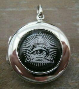 Solid Silver 925 & Enamel Gentlemans Masonic Freemasons Fob Locket Pendant