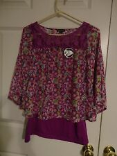 GEORGE WOMEN'S PURPLE FLORAL 2 PIECE TOP BLOUSE SIZE XL 14-16