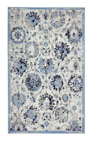 "Distressed, Floral - 7'8""x11', Light Blue, Oriental Traditional Area Rug - 507"