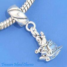 SANTA CLAUS IN SLEIGH CHRISTMAS .925 Sterling Silver EUROPEAN Dangle Bead Charm