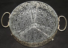 RETRO Chic diviso vetro HORS d'oeuvres TAPAS DIP servire Dish SILVER PLATED FRAME