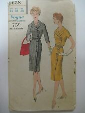 Vintage 50s VOGUE 9658 FRONT-BUTTONED WRAPPED DRESS Sewing Pattern Women Sz 14