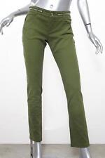 GIVENCHY Womens Olive Green ZIPPER 2Tone Stretch Denim Straight-Leg Jeans 38/6 S