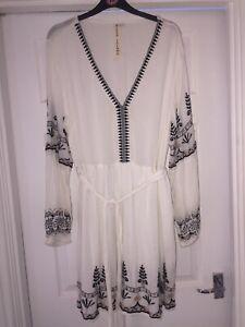River Island White Embroidered Boho Dress 14-16