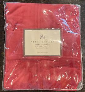 NEW Pottery Barn MEGAN Short Velvet Armchair Slipcover Red Cardinal Rouge